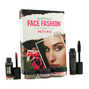 BareMinerals Face Fashion Collection The Look Of Now Pretty Wild ( Blush plus 2x Eye Color plus Mascara plus Lipcolor ) 5pcs