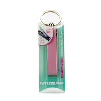 Key-Essentials-Folding-Nail-Clipper---Pink-Leather-Case-Tweezerman