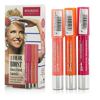 3-Color-Boost-Glossy-Finish-Lipsticks-SPF-15-Set:-3x-Lipsticks-(#02-Fuchsia-Libre-#03-Orange-Punch-#04-Peach-on-the-Beach)-Bourjois