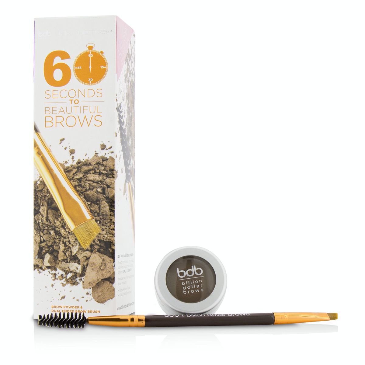 60 Seconds To Beautiful Brows Kit (1x Brow Powder 1x Dual Ended Brow Brush) - Taupe Billion Dollar Brows Image