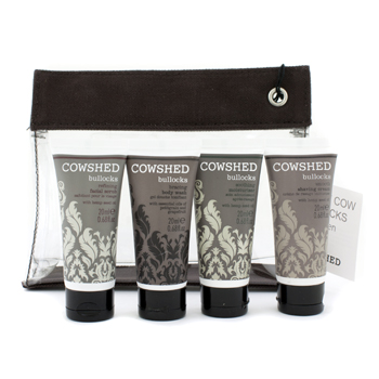 Pocket Cow Bullocks Set Facial Scrub plus Shaving Cream plus Moisturiser plus Body Wash plus Bag 4x20mlplus1bag