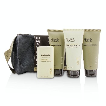 Mens-Care-Set:-Shaving-Cream-100ml---Mineral-Shower-Gel-100ml---Dermud-Intensive-Foot-Cream-100ml---Purifying-Mud-Soap-100g-Ahava