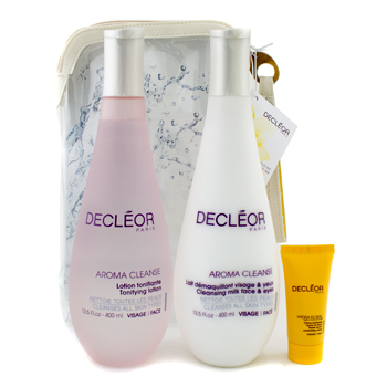 Decleor Set: Cleansing Milk 400ml + Tonifying Lotion 400ml + Hydra Floral Moisturising Cream 15ml + 1 Bag
