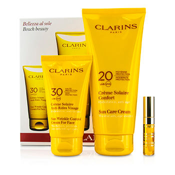 Beach-Beauty-Kit:-Sun-Wrinkle-Control-Cream-for-Face-75ml---Sun-Care-Cream-200ml---Lip-Comfort-Oil-2.8ml-Clarins