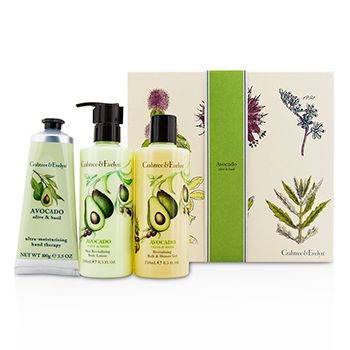 Avocado-Olive-and-Basil-Essentials-Set:-Bath-and-Shower-Gel-250ml---Body-Lotion-250ml---Hand-Therapy-100g-Crabtree-and-Evelyn