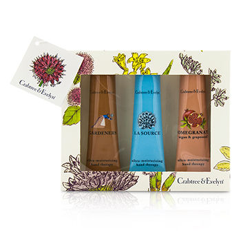 Ultra-Moisturising-Hand-Therapy-Set:-Gardeners-50g---La-Source-50g---Pomegranate-Argan-and-Grapeseed-50g-Crabtree-and-Evelyn