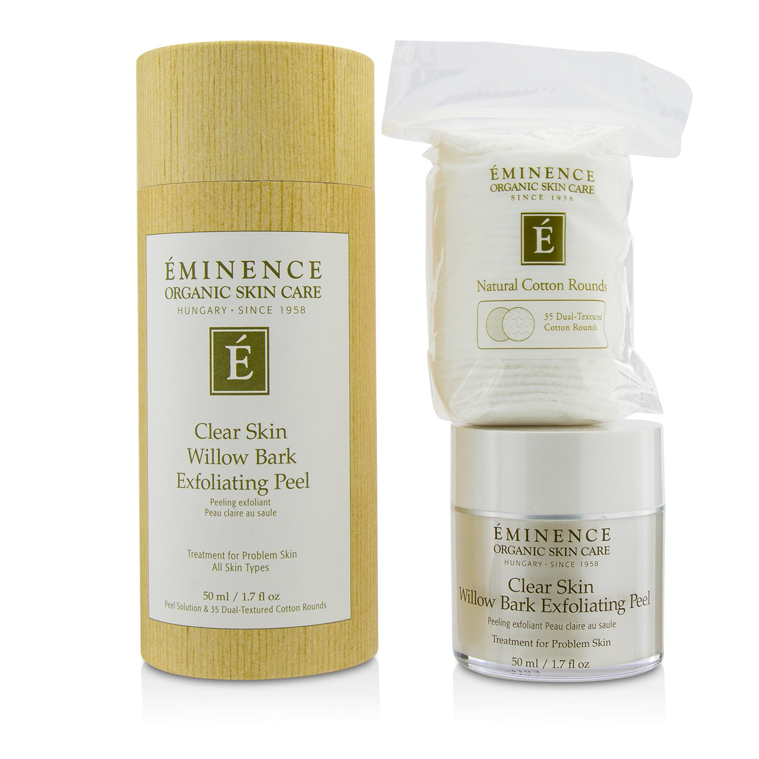 Clear Skin Willow Bark Exfoliating Peel (with 35 Dual-Textured Cotton Rounds)