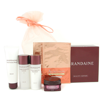 Grandaine Travel Set Cleansing Cream 25g plus Lotion 33ml plus Emulsion 33ml plus Cream 15g plus 2xEye Mask plus Cotton 7pcs