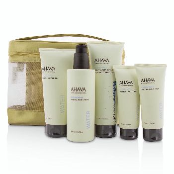 Deadsea-Water-Mineral-Body-Kit:-Shower-Gel---Body-Exfoliator---Body-Lotion---Hand-Cream---Foot-Cream---Gold-Bag-Ahava